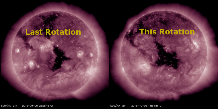 Coronal hole images from last rotation and this rotation