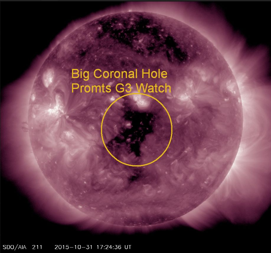 Coronal Hole responsible for the expected G3 Aurora for November 2nd and 3rd