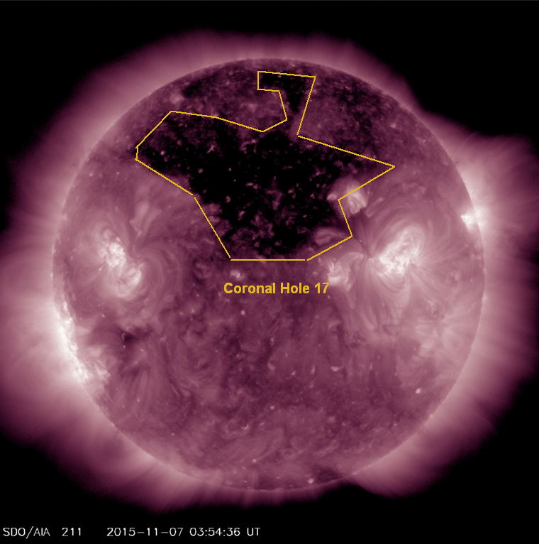 AIA 211 image showing Coronal hole responsible for November 8, 2015 G1 storming