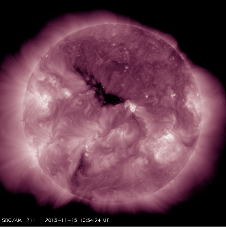 Coronal Hole shown in AIA 211 is the dark area center-disk in the northern hemisphere