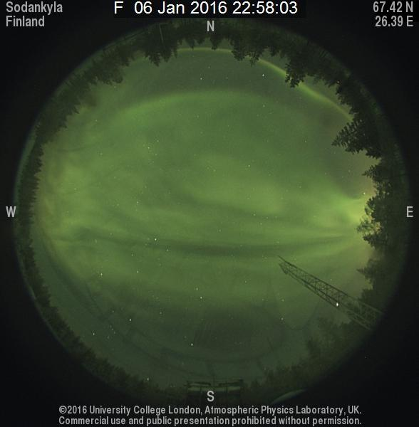 Aurora skycam from Sodankylä Geophysical Observatory in Finland