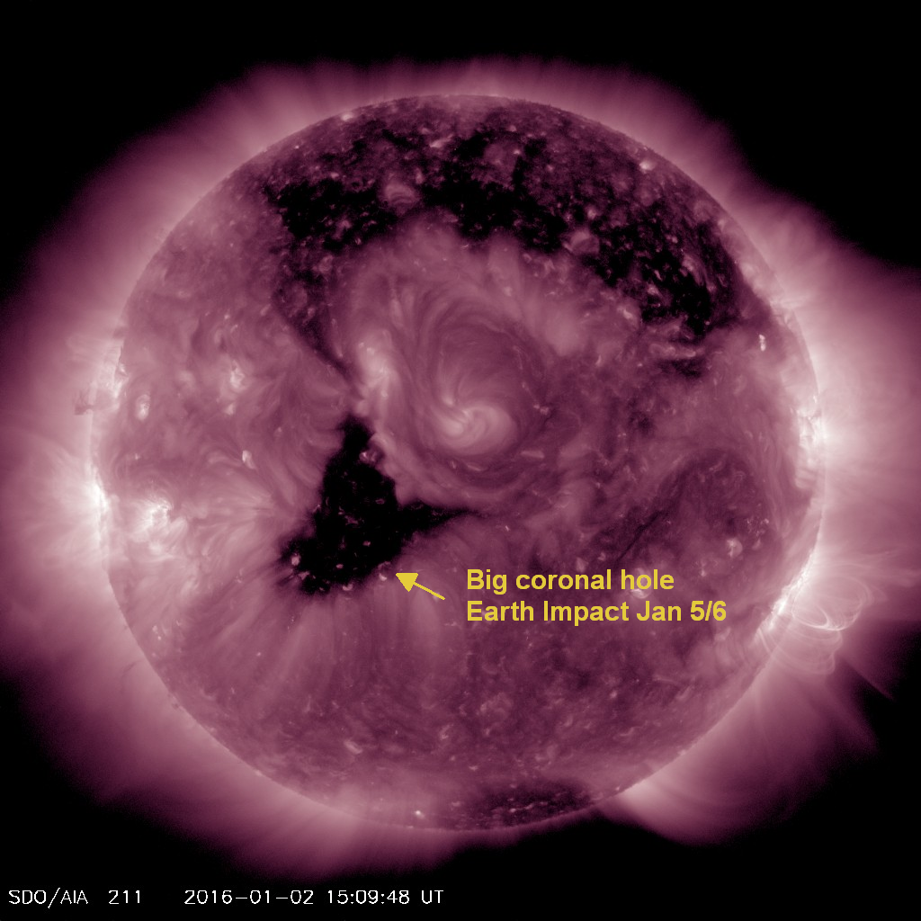 Coronal hole rotating into the Earth Strike zone may prompt a new geomagnetic storm watch later this week