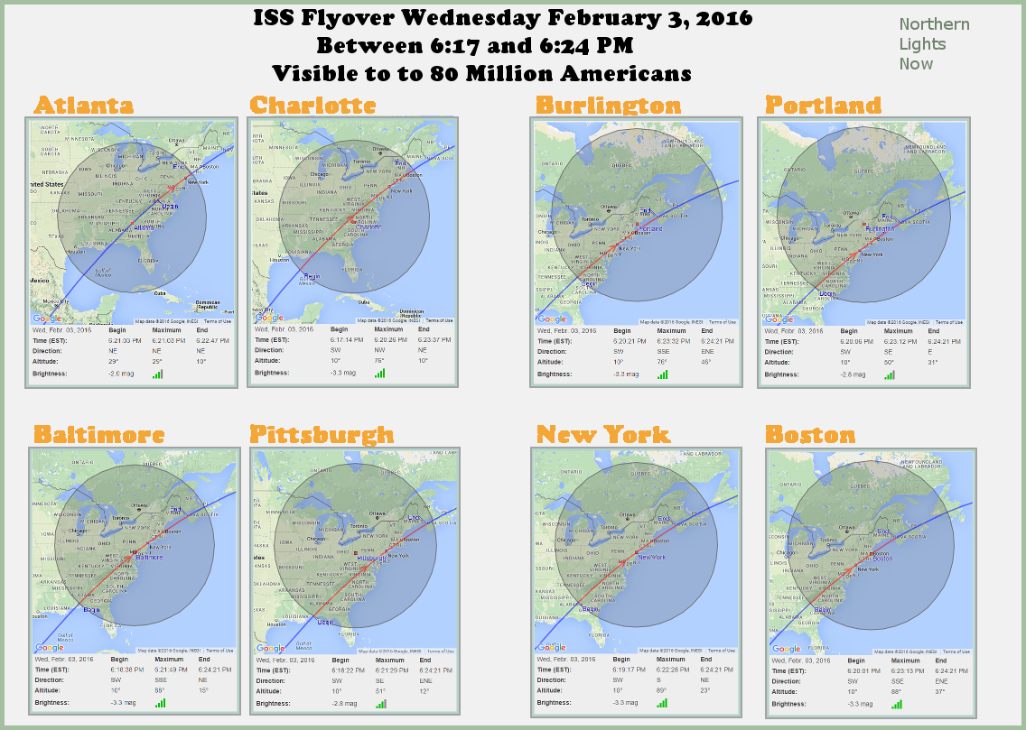 Infographic showing ISS viewing timeline for East Coast Cities