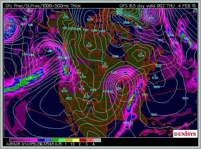 As of 1/26, the GFS long range model predicts a storm for the eastern US at during the flyover