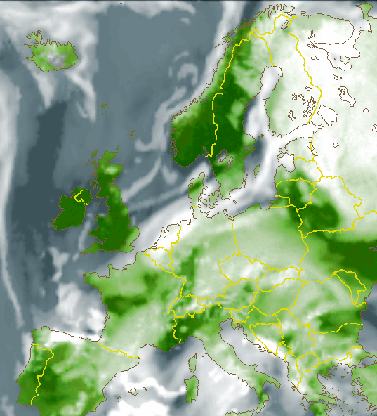 Cloud cover forecast for midnight GMT in Europe shows clear skies as green