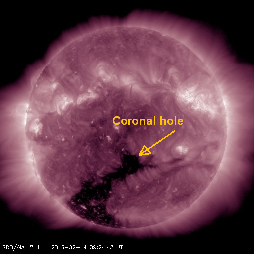 High speed winds from coronal hole may impact Earth on 2/17
