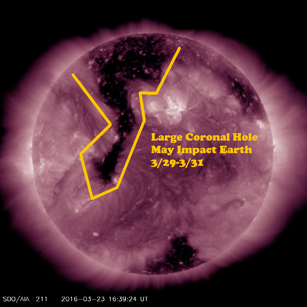 Coronal hole may impact Earth's space weather early next week