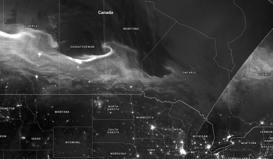 Mother's Day Aurora Visible on VIIRS Satellite imagery