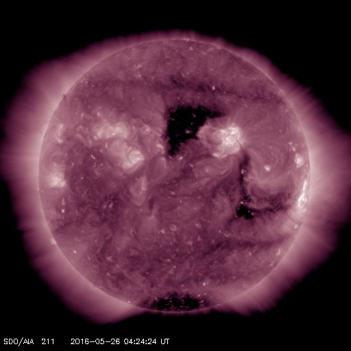 Coronal hole in AIA 211 from the SDO from 5/26/2016..