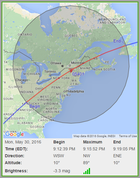 ISS will pass directly over Burlington, and be visible to most people in the Northeast May 30 starting around 9:12pm