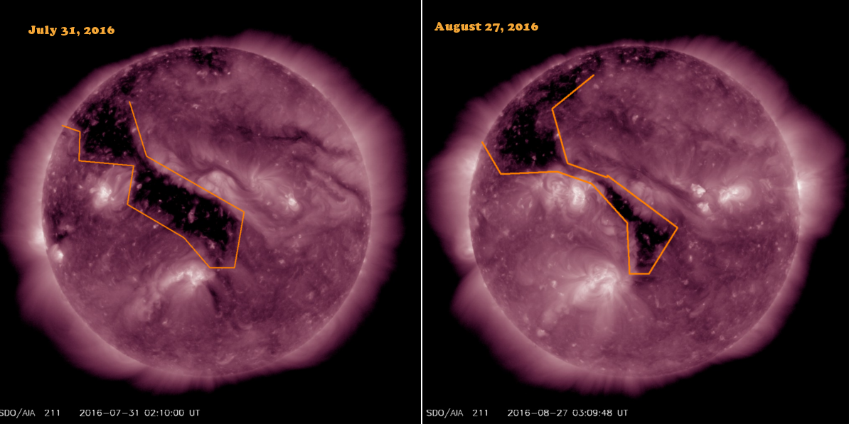 Current and Previous rotations for this coronal hole.