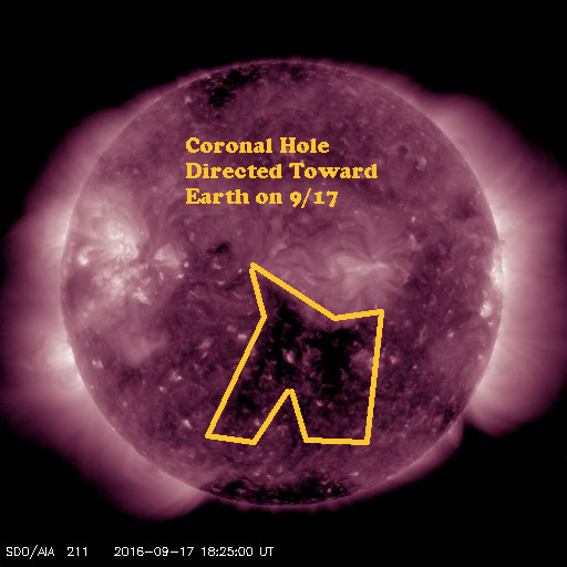 Coronal hole pointed towards Earth on 9/17 as imaged in 211 wavelength by SDO