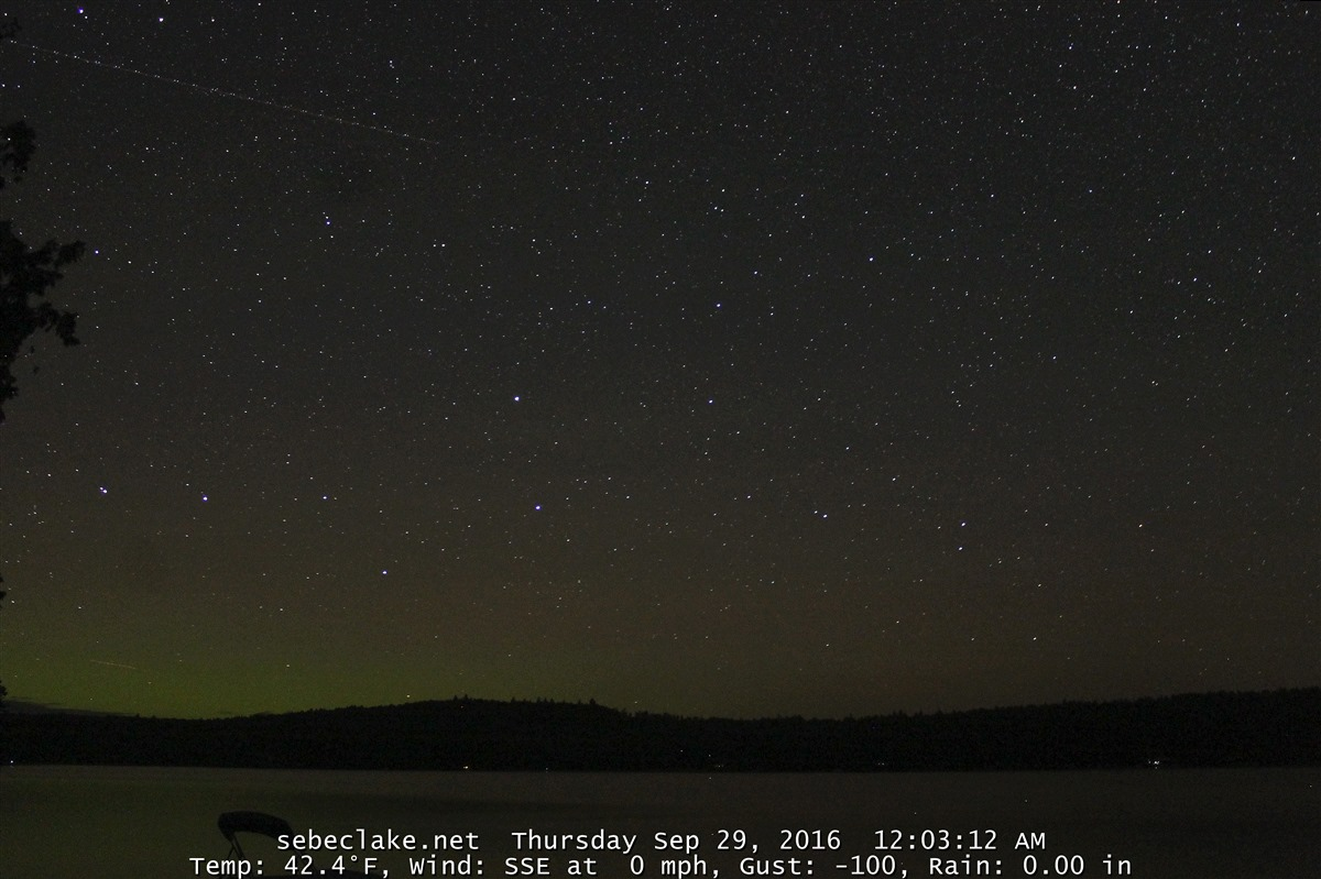 Sebec Lake webcam shows some aurora on the horizon