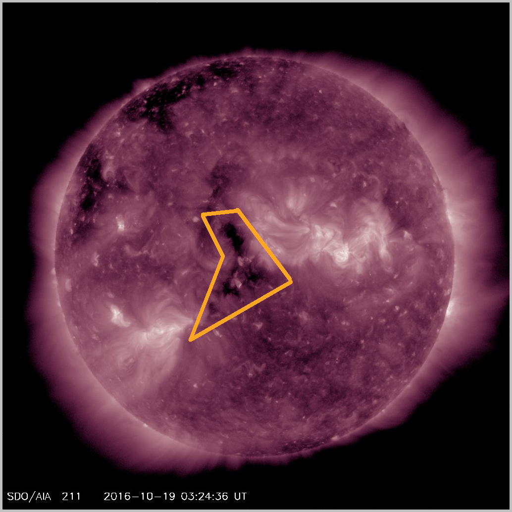 Small coronal hole pointed toward Earth on October 19