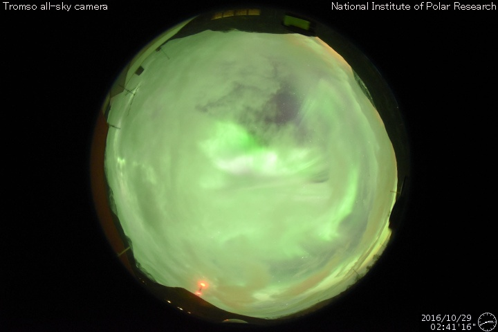 Exciting full sky of aurora from the Tromso all-sky web cam