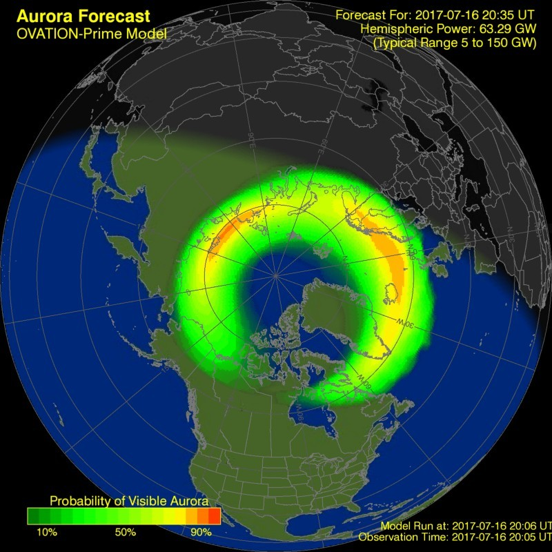 Ovation model shows some decrease in aurora activity from earlier today