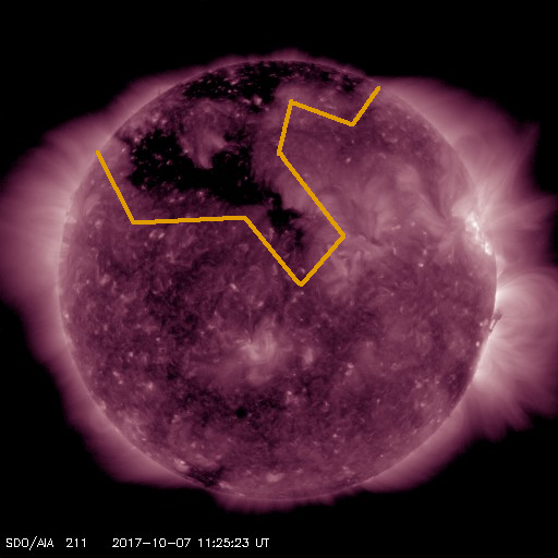 Northern Hemisphere coronal hole pointed towards Earth on October 7th