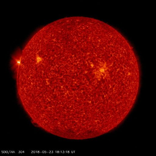Active Region (soon to be numbered 2712) rotated into view on the East in AIA 304